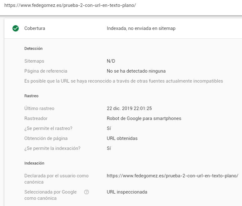 Informe de Inspección de URL de Search Console